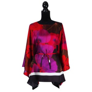 """Image of Silk Twill Top """"Midnight Nasturtium"""""""