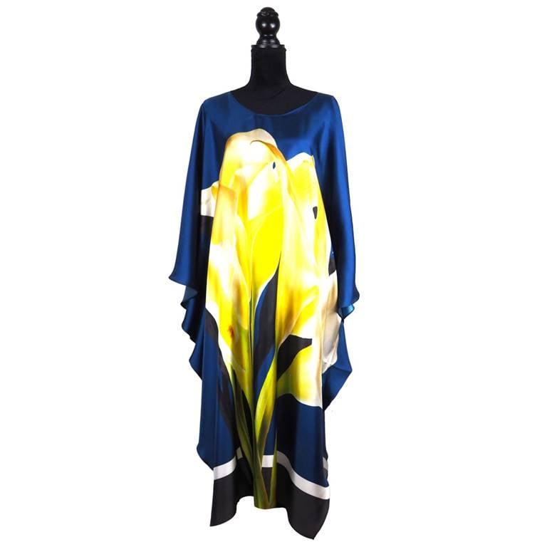 """Image of Silk Twill Kaftan """"Calla Lilys"""""""