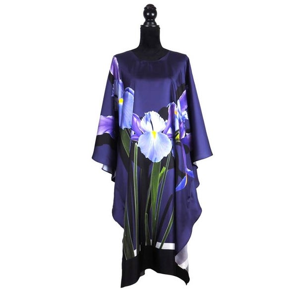 "Image of Silk Twill Kaftan ""Blue Iris"""