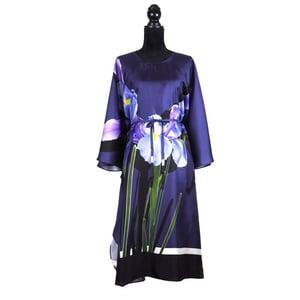 "Image of Silk Twill Kaftan ""Blue Iris"""