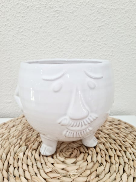 Image of Mr moustache ceramic pot.