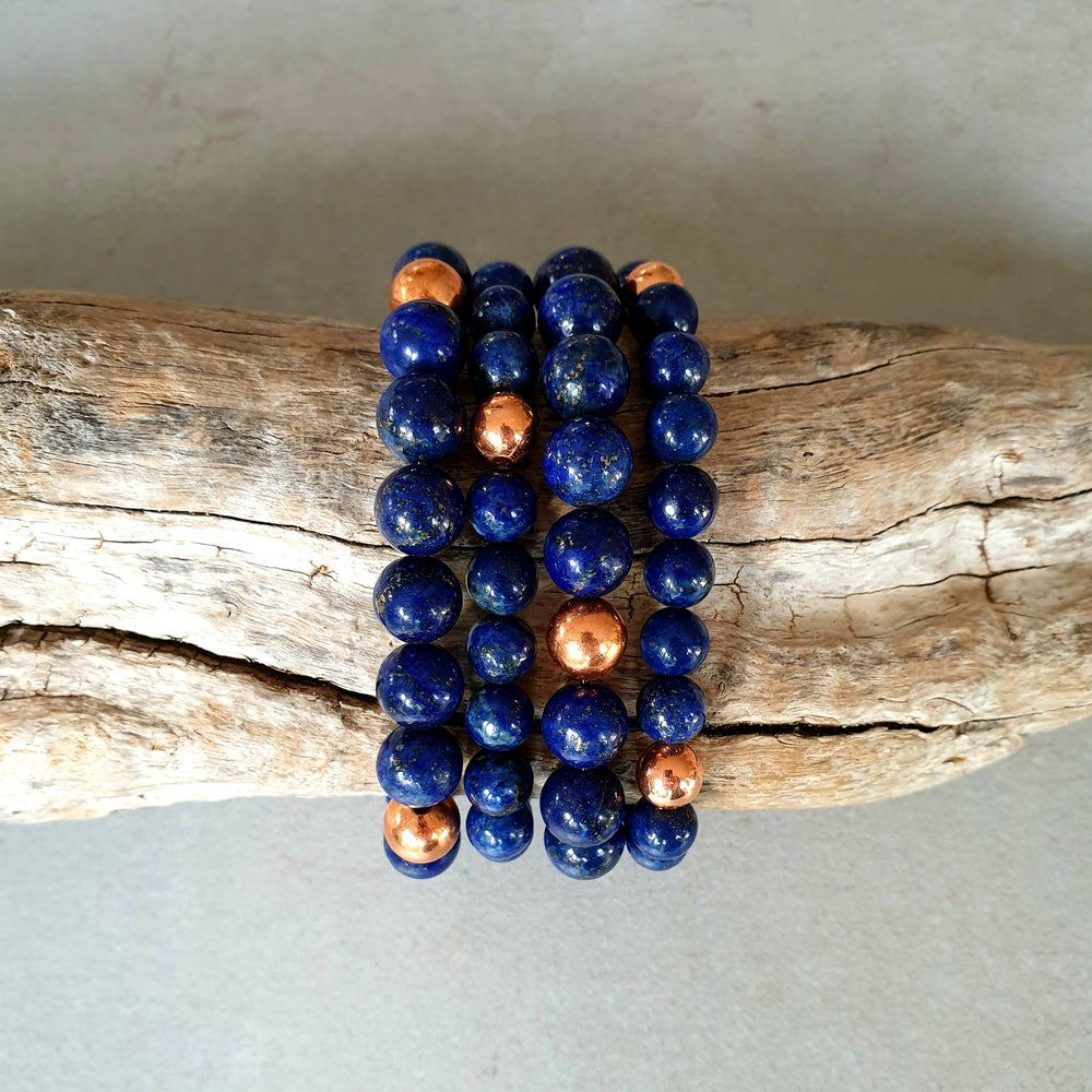Image of LAPIS LAZULI & COPPER BRACELET - 8mm & 10mm bead sizes