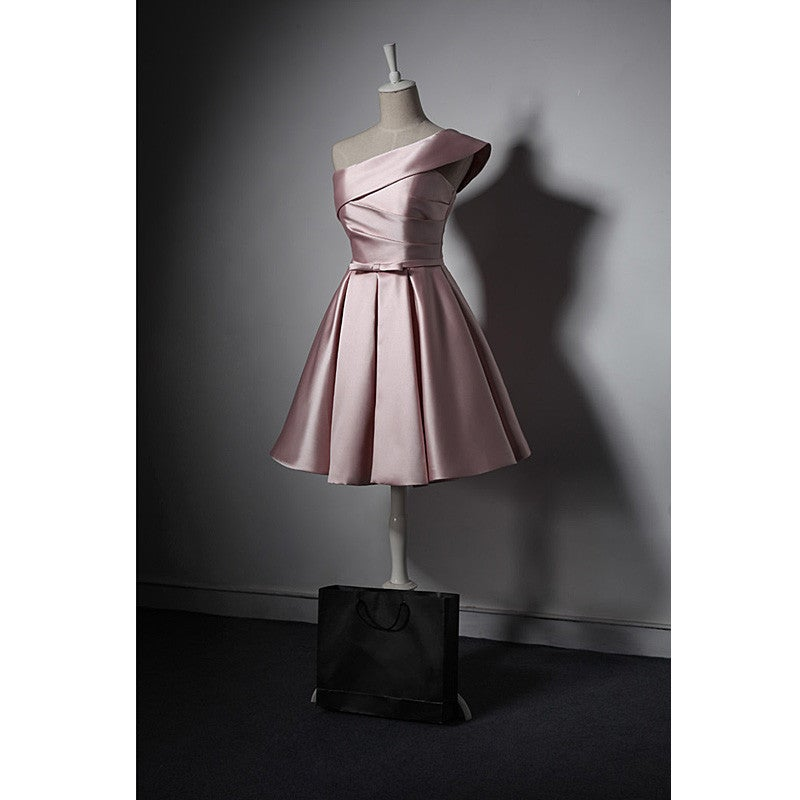 Pink Fashionable Satin One Shoulder Short Party Dress, Pink Homecoming Dress