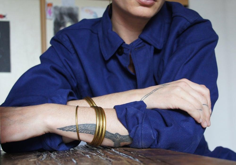 Image of Gold Prayer Bangles (set of 3)