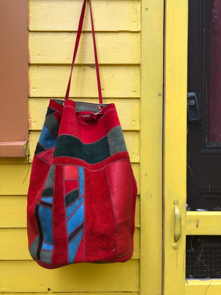 Image of Big Scrap Bucket Bag-Reds