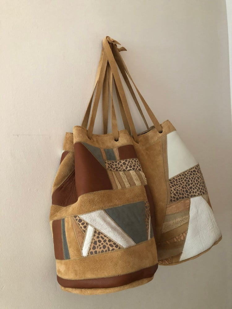 Image of Big Scrap Bucket Bag-Browns