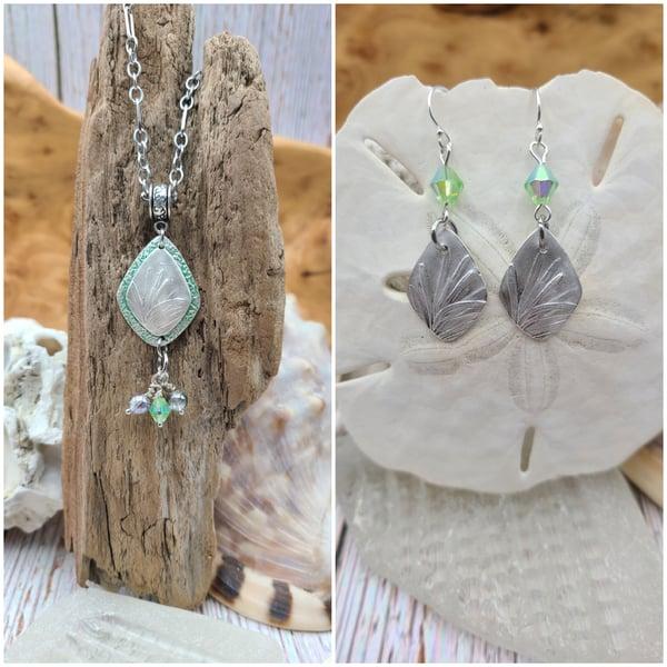 Image of Sterling- Handmade- Lavender Leaves- Necklace Earrings- #394