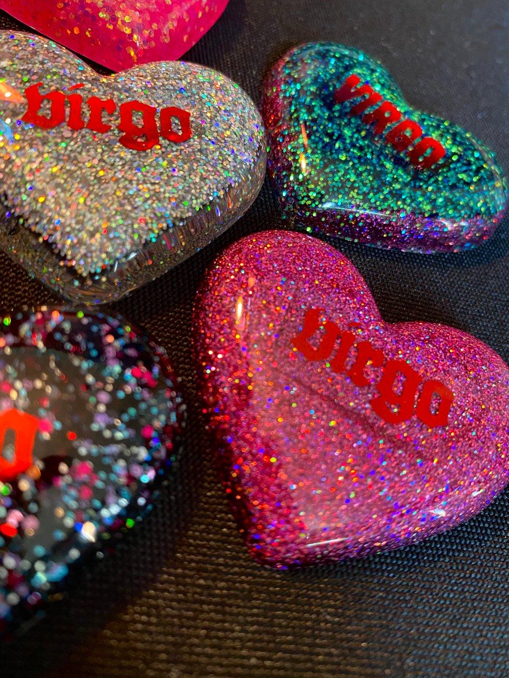 Virgo Glitter Heart Magnets