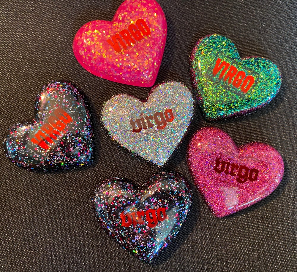 Image of VIRGO Glitter Hearts (Magnet, Keychain, or Phone Grip)