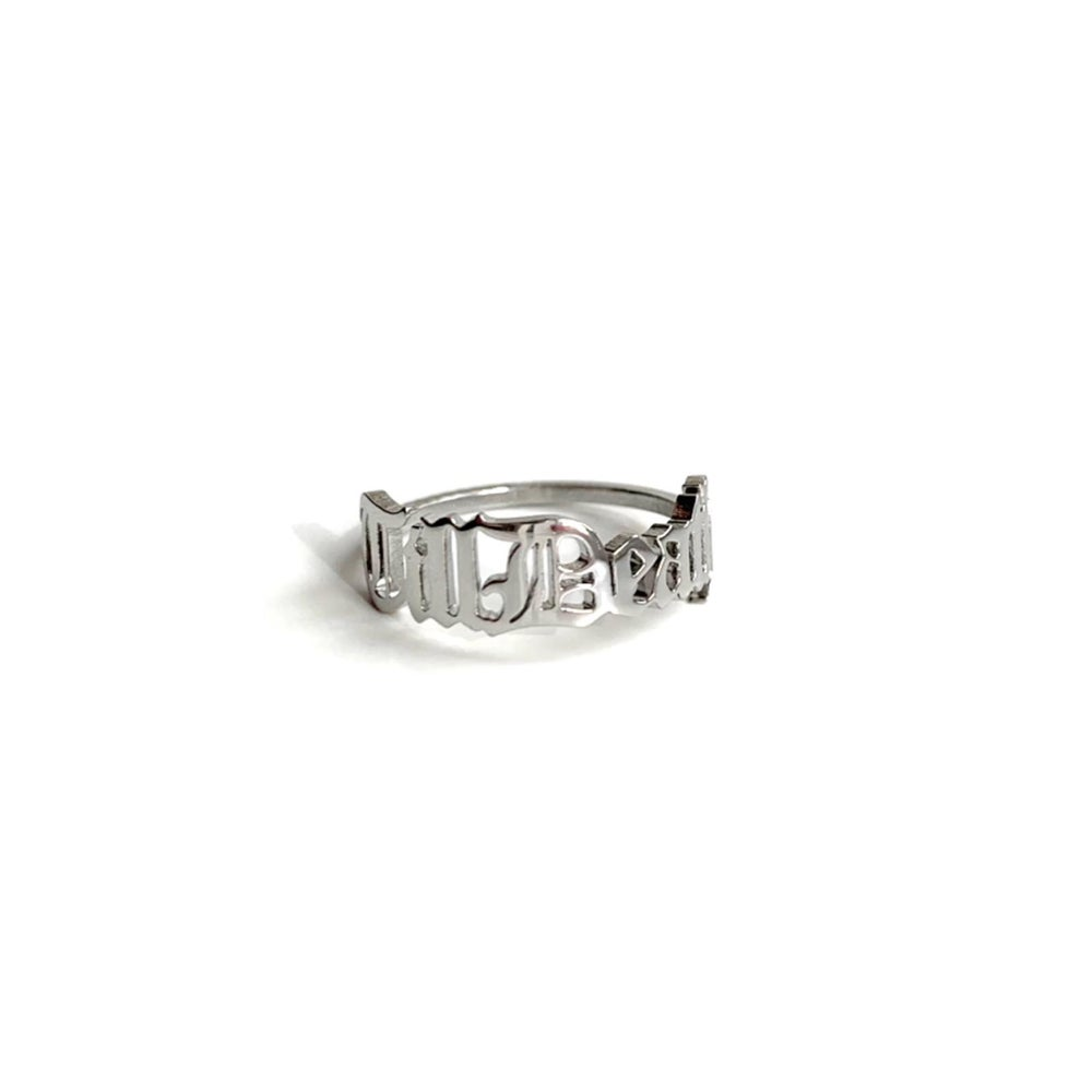 Image of Till Death stainless steel script ring