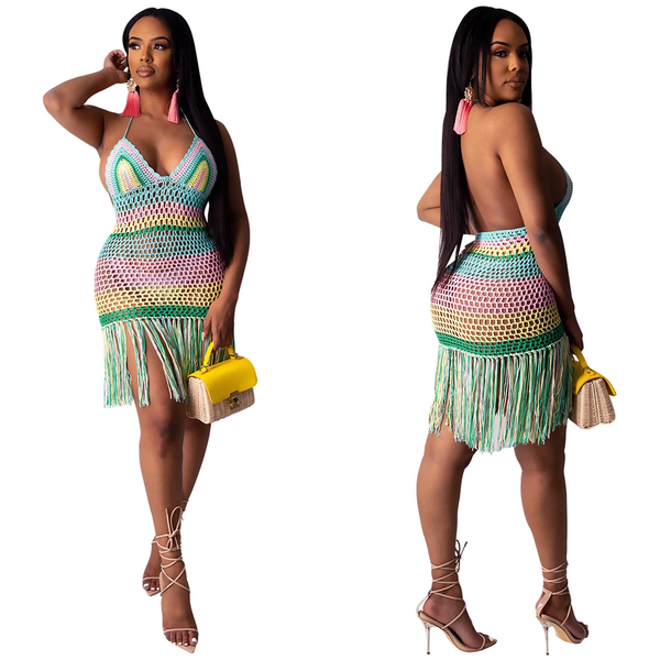 Image of Crochet Tassel Beach Dress