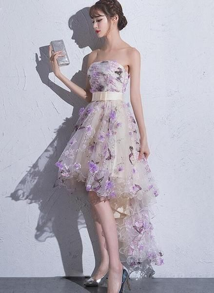 Lovely Tulle High Low Scoop Party Dress, Flowers Homecoming Dress Short Prom Dress