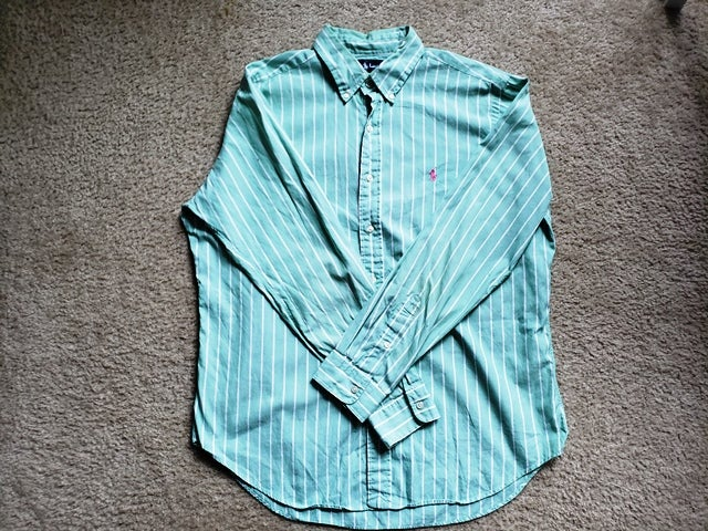 "Image of Ralph Lauren Polo Shirt L/S ""Teal/Pink"""