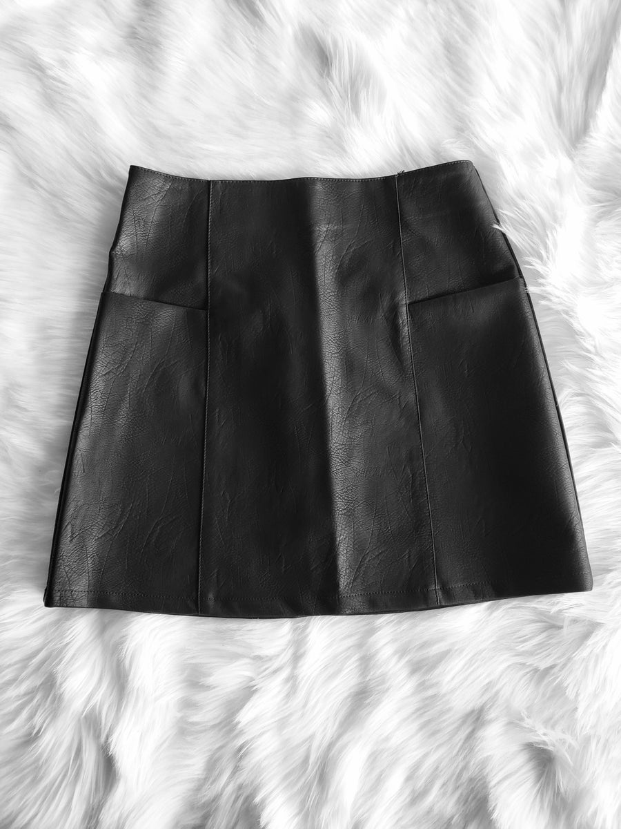 Image of Rebecca Faux Leather Skirt (black)