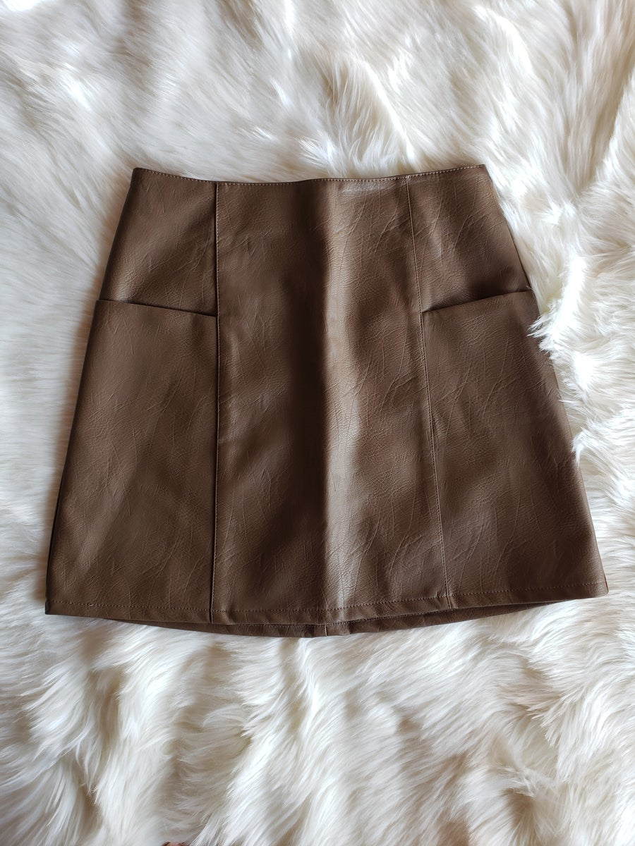 Image of Rebecca Faux Leather Skirt (brown)