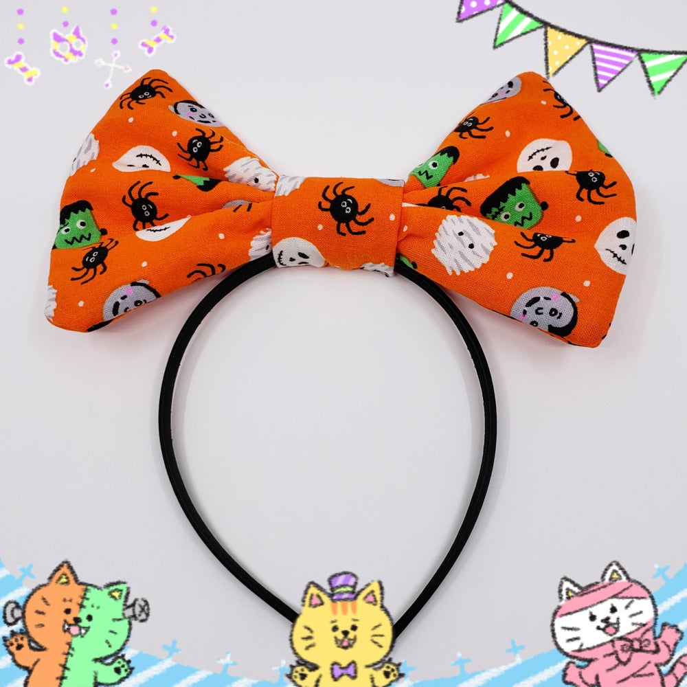 Image of 20% OFF ! Lil' Monsters Halloween Print Bow / Headband Type A