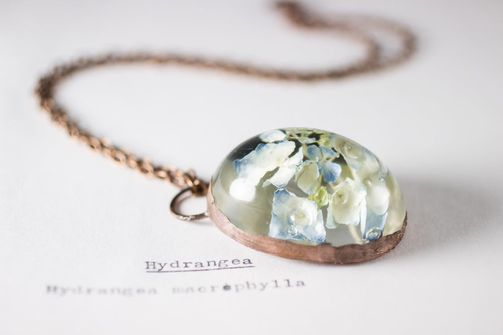 Image of Hydrangea (Hydrangea macrophylla) - Copper Plated Necklace #2