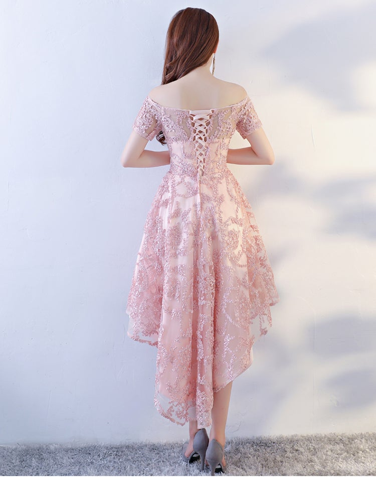 Pink Lace High Low Homecoming Dress, Off Shoulder Short Prom Dress