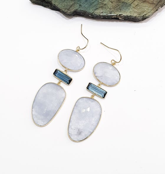 Image of Blue Onyx and Iolite Statement Earrings
