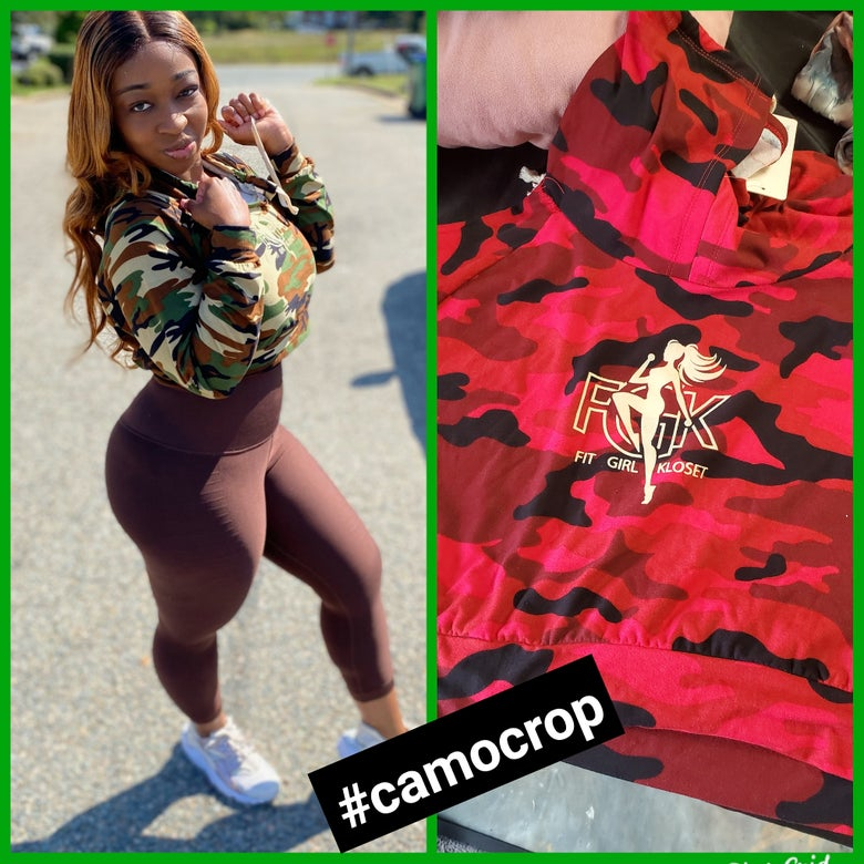 Image of Camo crop long sleeve (green or red)