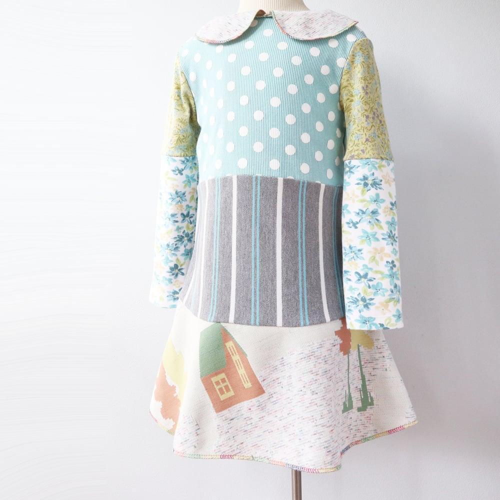 Image of soft greens floral deer barn 3T vintage fabric peter pan collar courtneycourtney dress longsleeve