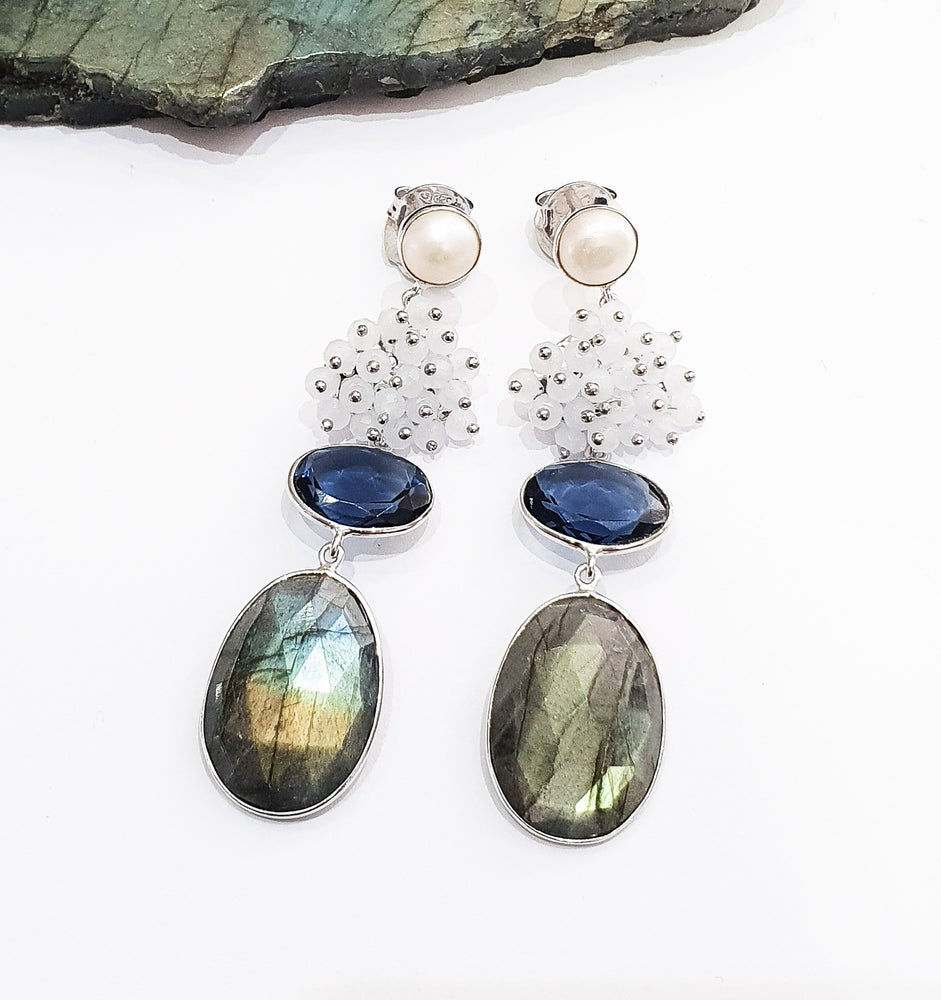 Image of Labradorite, Moonstone, Pearl and Iolite Statement Earrings