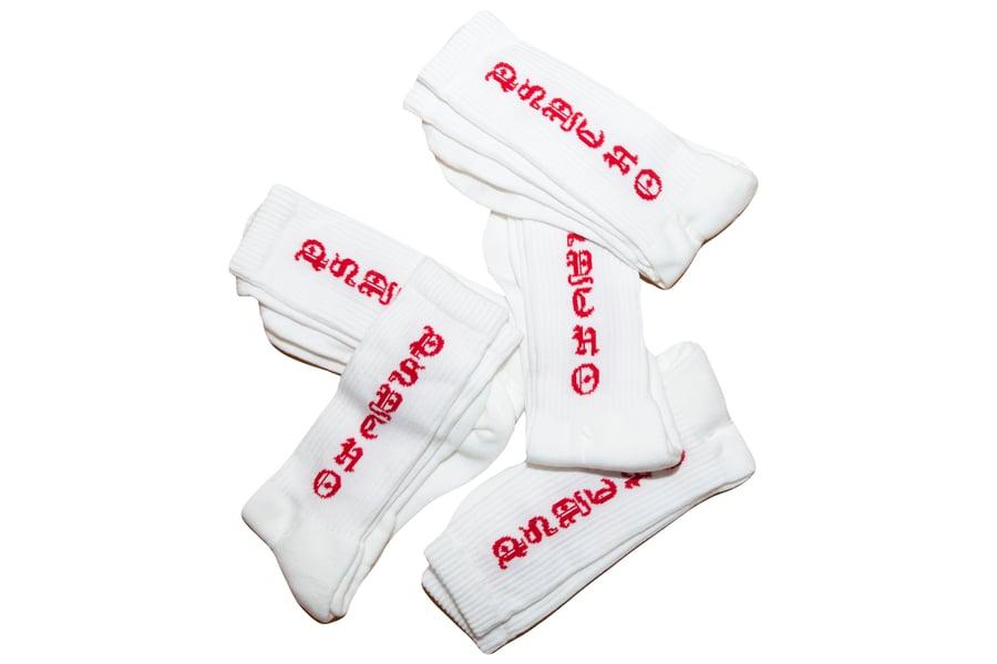 Image of TFG Psycho Socks White/Red
