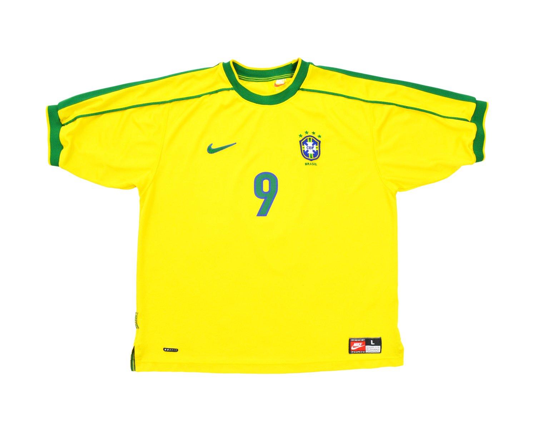 Image of 1998-00 Nike Brazil Home Shirt 'Ronaldo 9' L