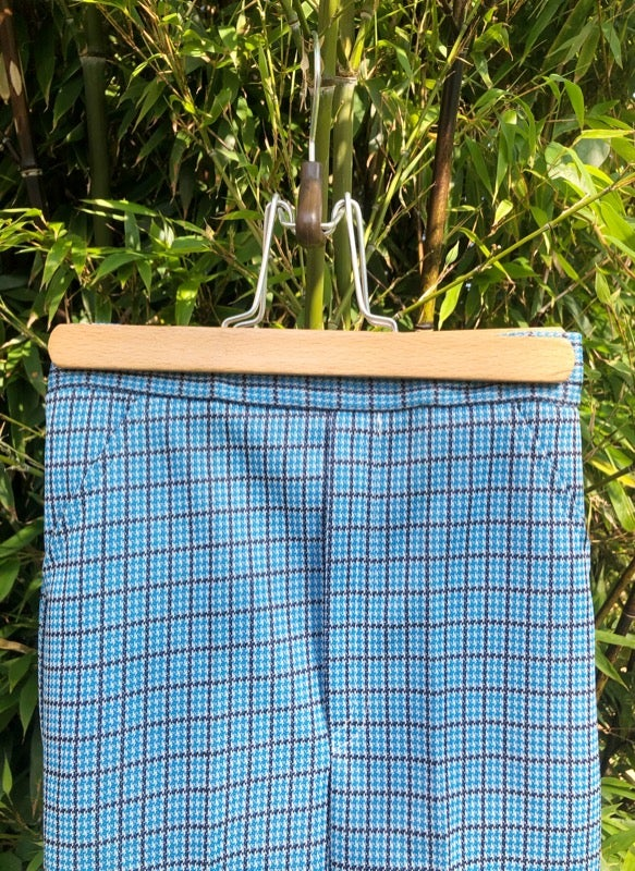 Image of Blue, black and white dogtooth check, stretch trousers. Age 3-4yrs.