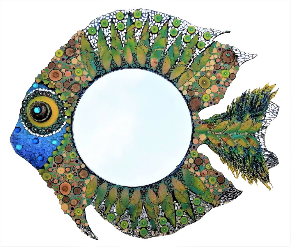 Image of Specchiera Pesce verde e azzurro/ Green and blue fish mirror frame