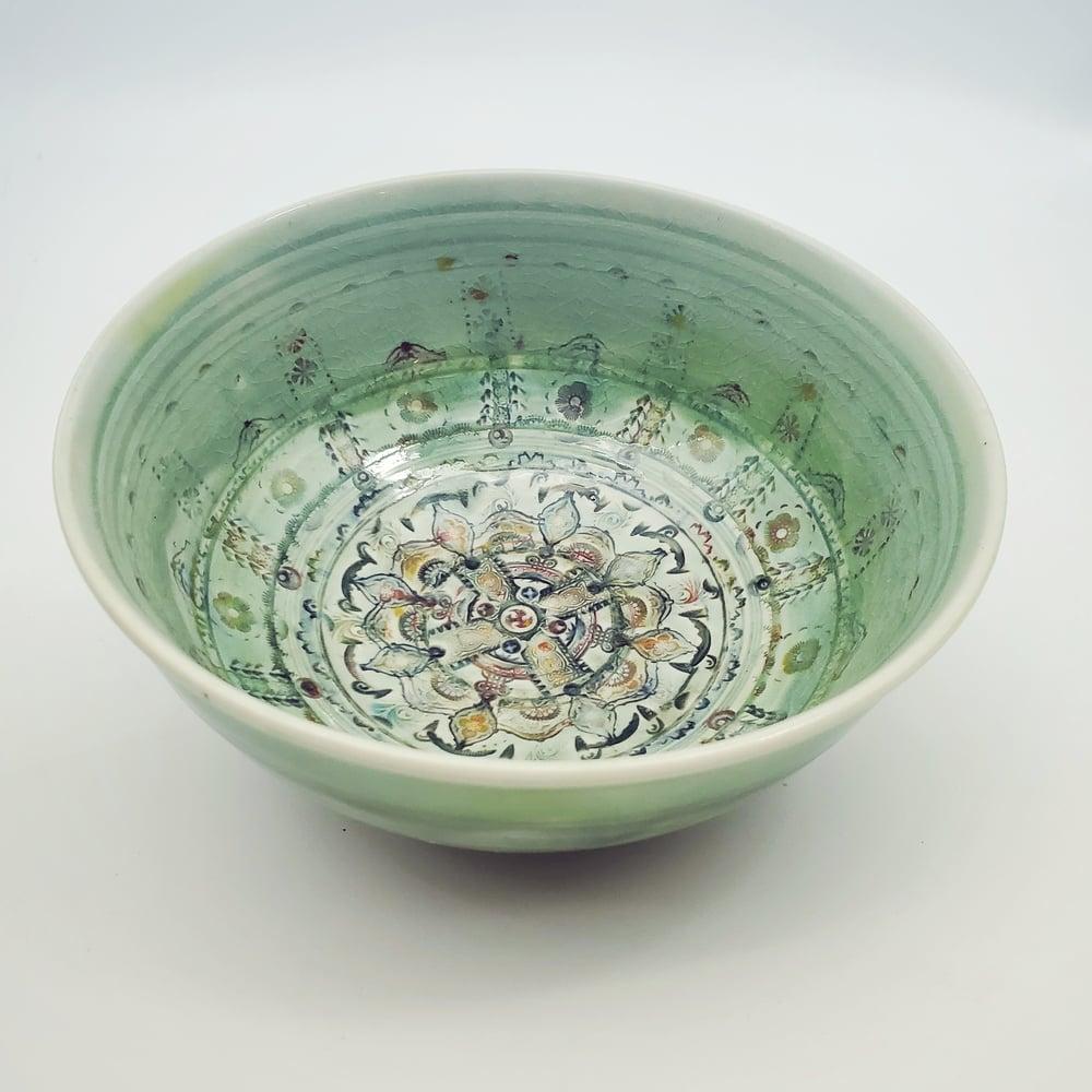 Image of Kaleidoscope Celtic Green Porcelain Bowl