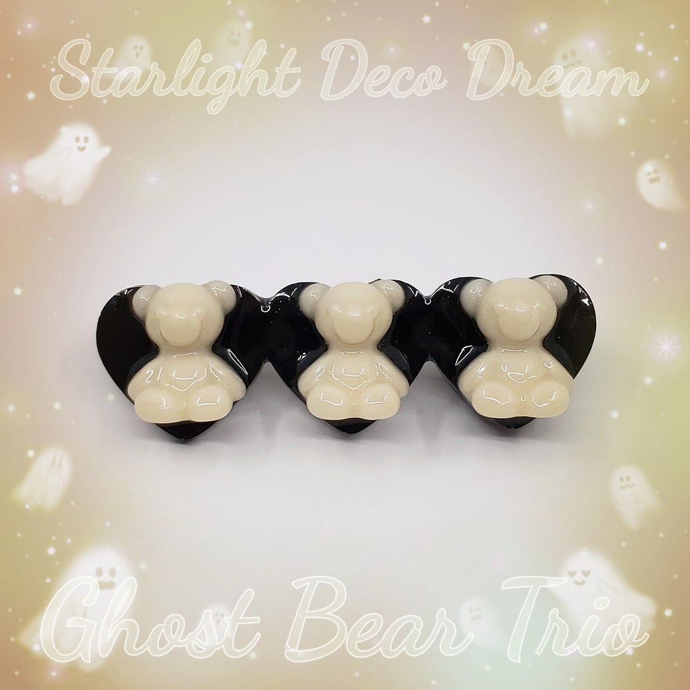 Image of Ghost Bear Trio Heart Hair Clip