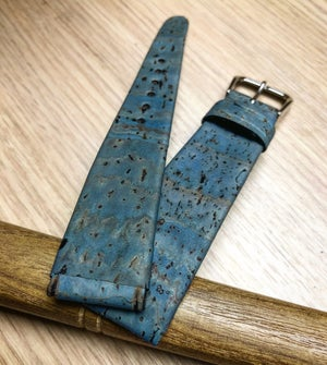 Image of Light Blue Cork watch strap - hand-rolled rembordé