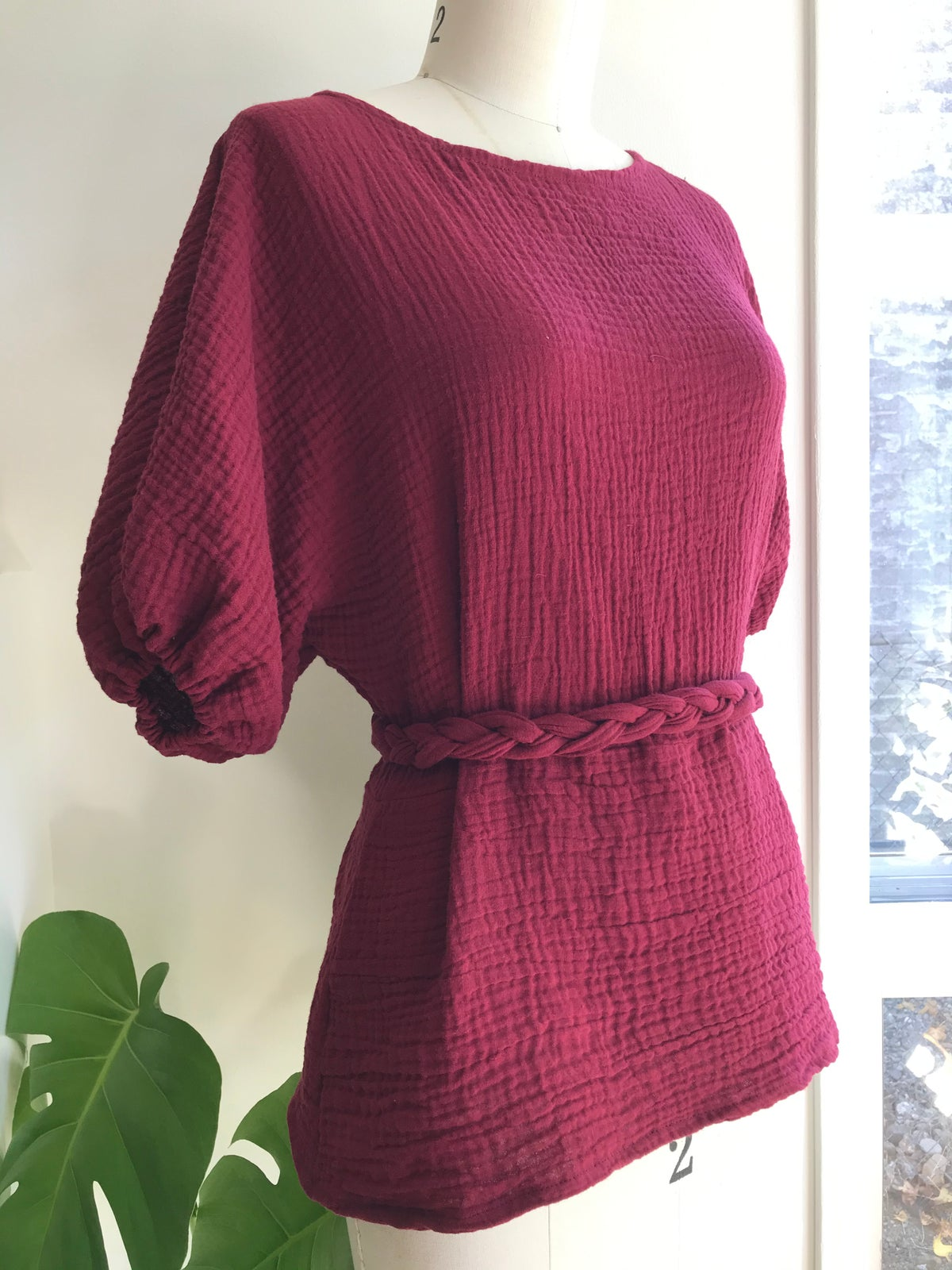 Image of  Double Cotton Gauze Blouse with braided belt