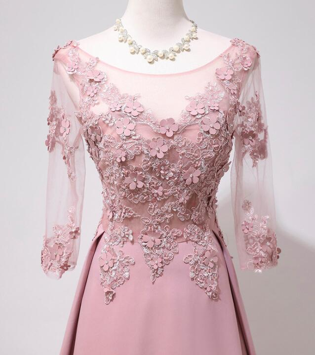 Pink Lace  Long Backless Long Sleeves Party Dress, A-line Pink Prom Dress