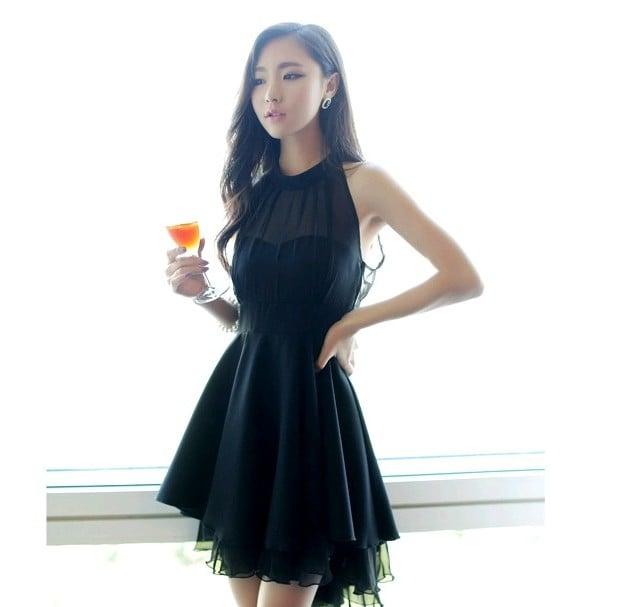 Cute Chiffon Black Dresses, Sexy Women Dresses , Black Knee Length Dresses