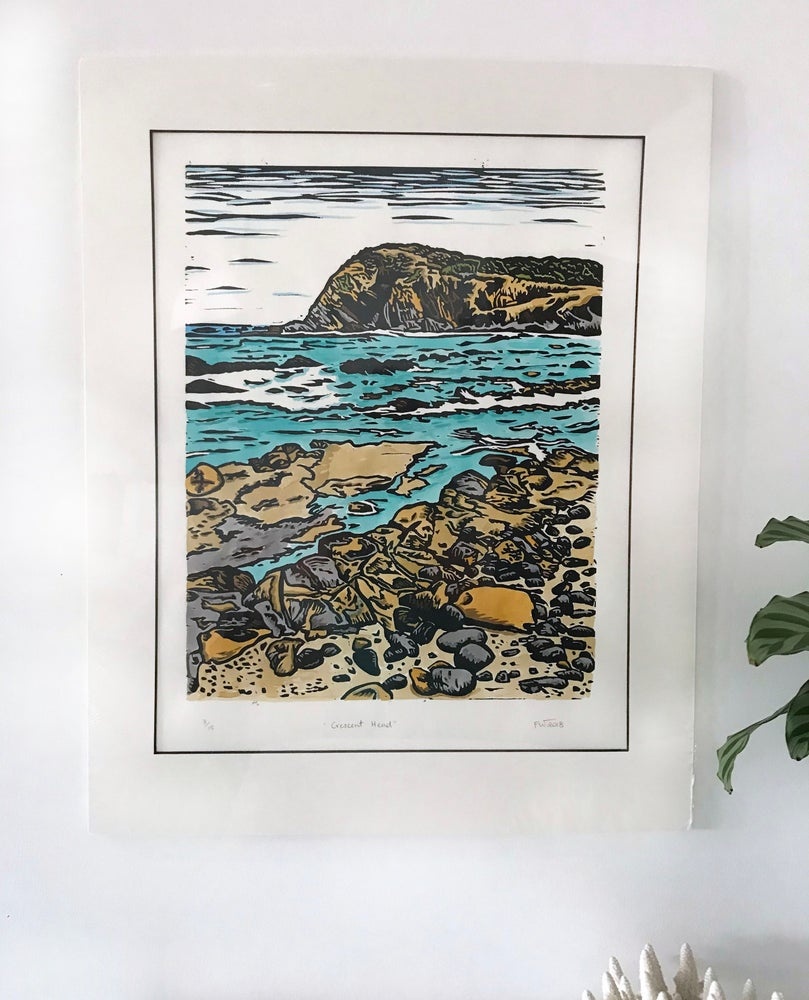 """Image of """"Crescent Head"""" 2018 - hand coloured"""