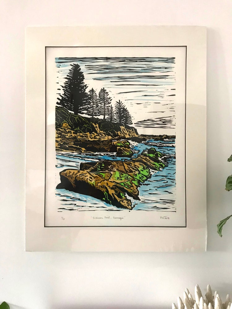 """Image of """"Dickinson Point, Bermagui"""" 2018 - hand coloured"""