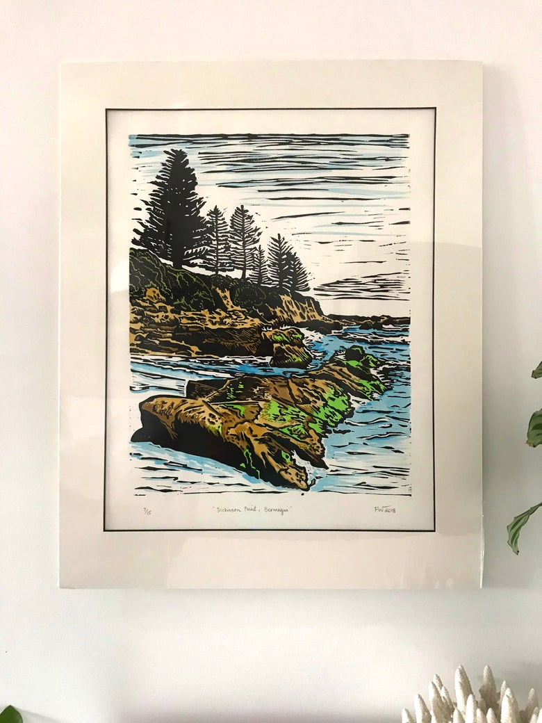 "Image of ""Dickinson Point, Bermagui"" 2018 - hand coloured"