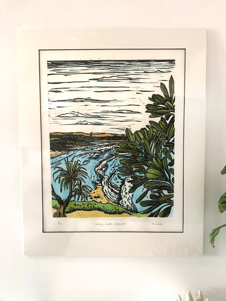 "Image of ""Looking North, Cabarita"" 2018 - hand coloured"