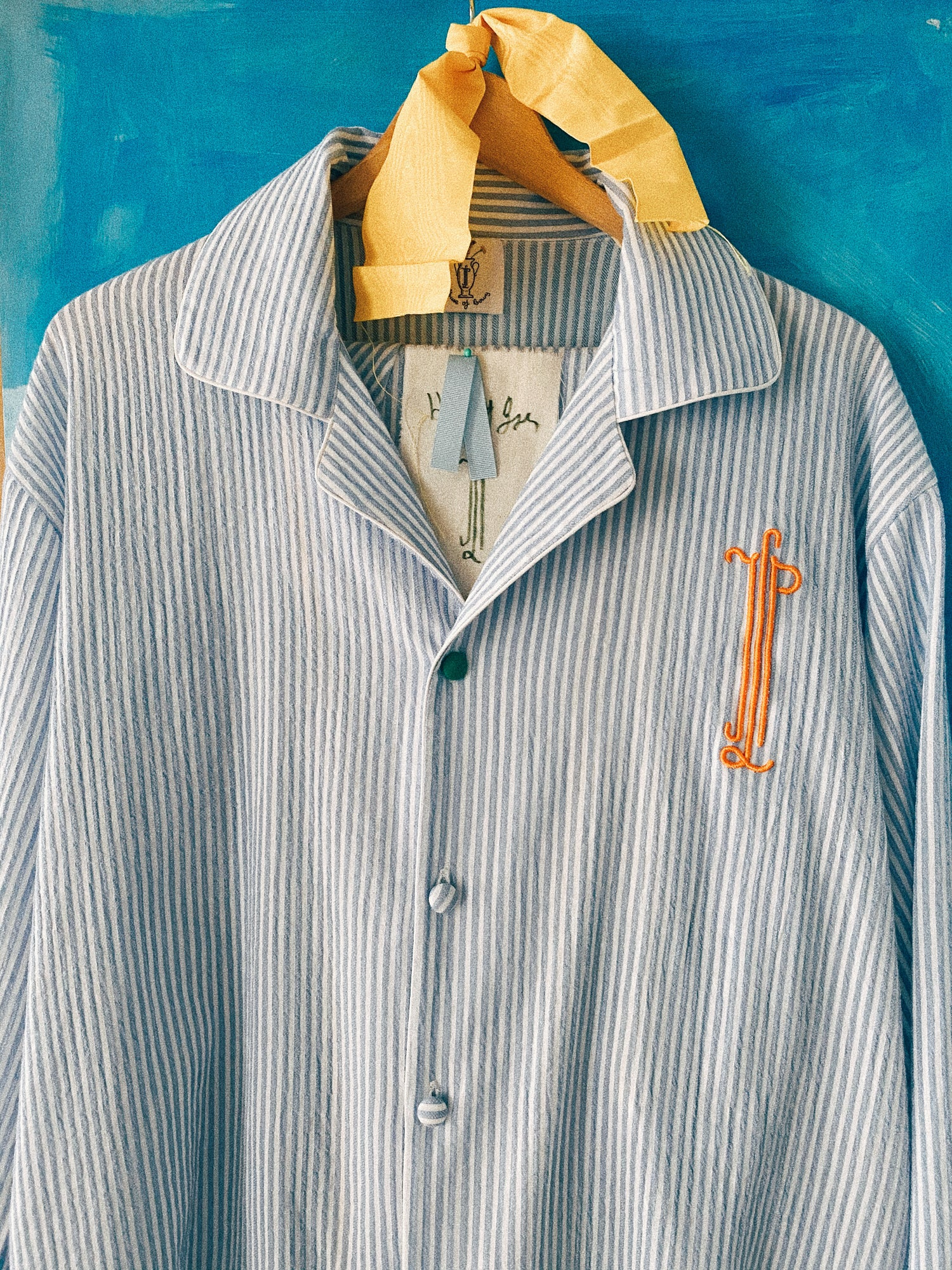 Image of Blue stripes  Old cotton shirt 1/1 Limited edition