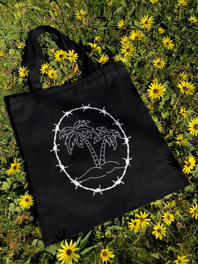 Image of PALM TREE BARBED WIRE TOTE BAG