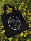 PALM TREE BARBED WIRE TOTE BAG