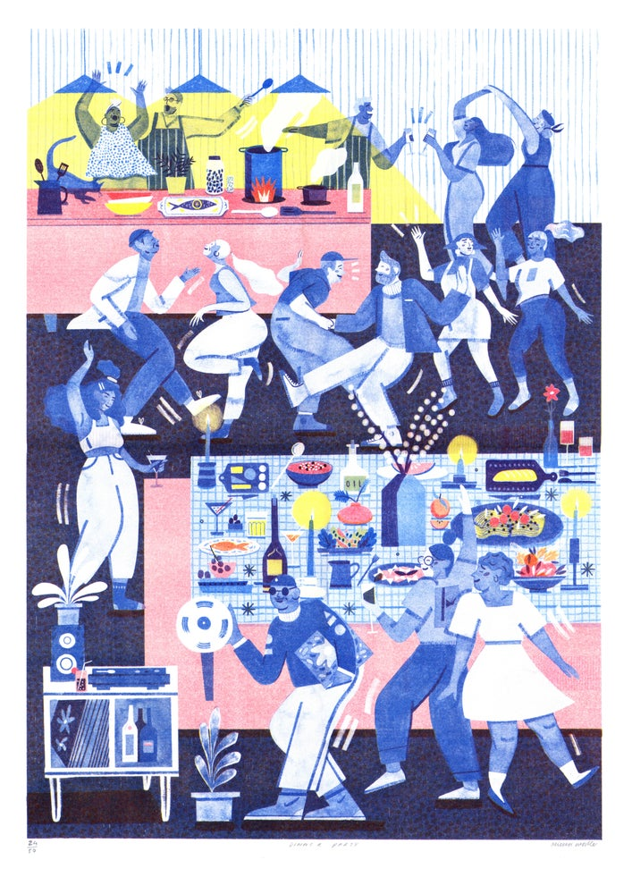Image of Dinner Party riso print