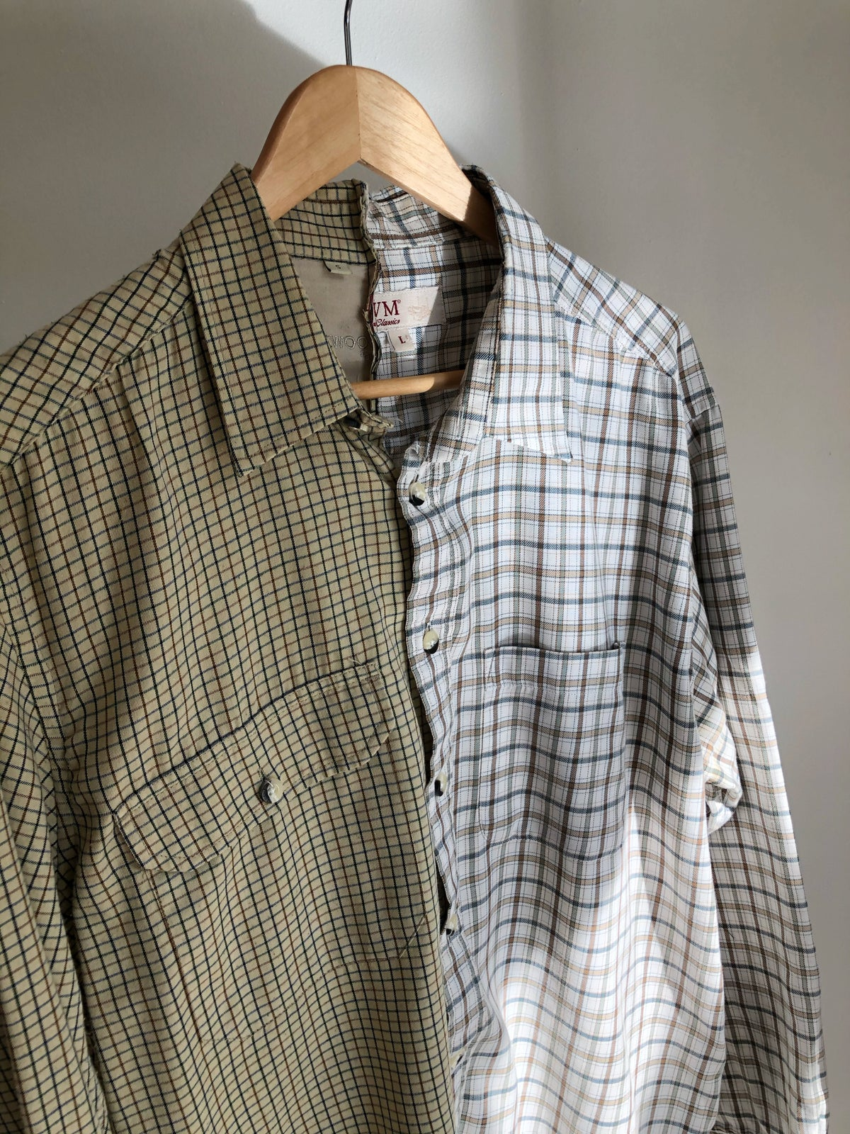 Half Reconstructed Checked Shirt