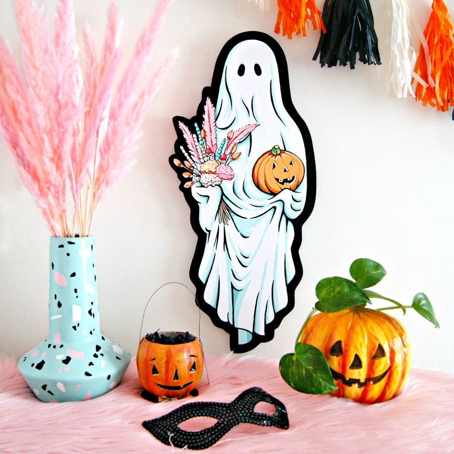Image of Boo-quet Ghost plaque (black)