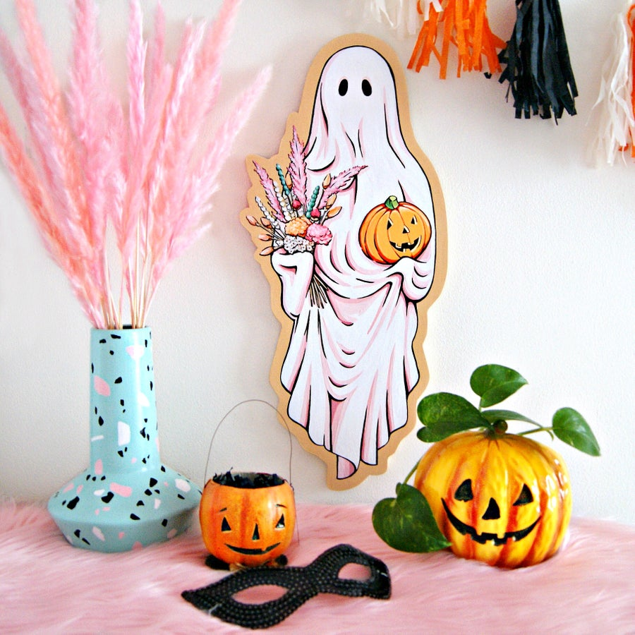 Image of Boo-quet Ghost plaque (peach)