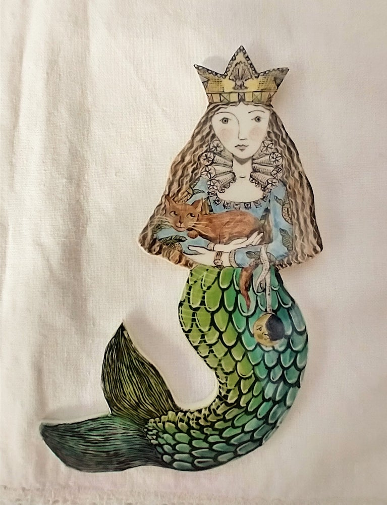 Image of Mermaid Cordelia with her Cat and Moon