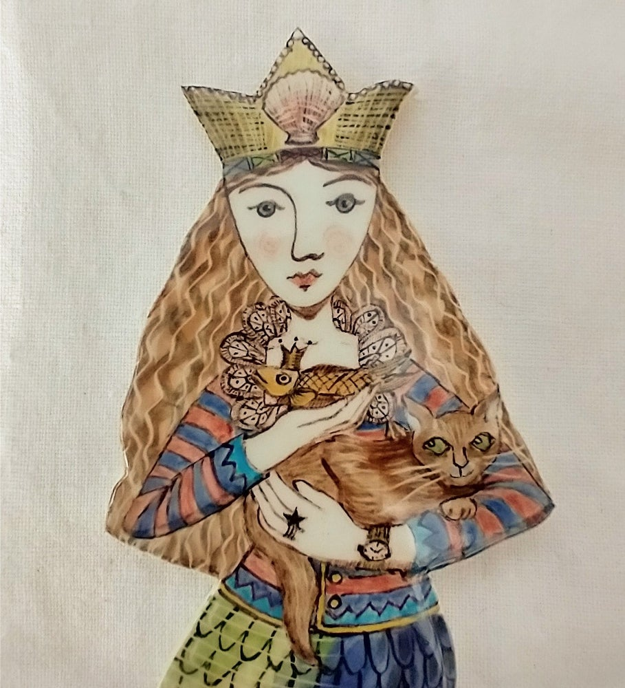 Image of Mermaid Zinnia with her Cat