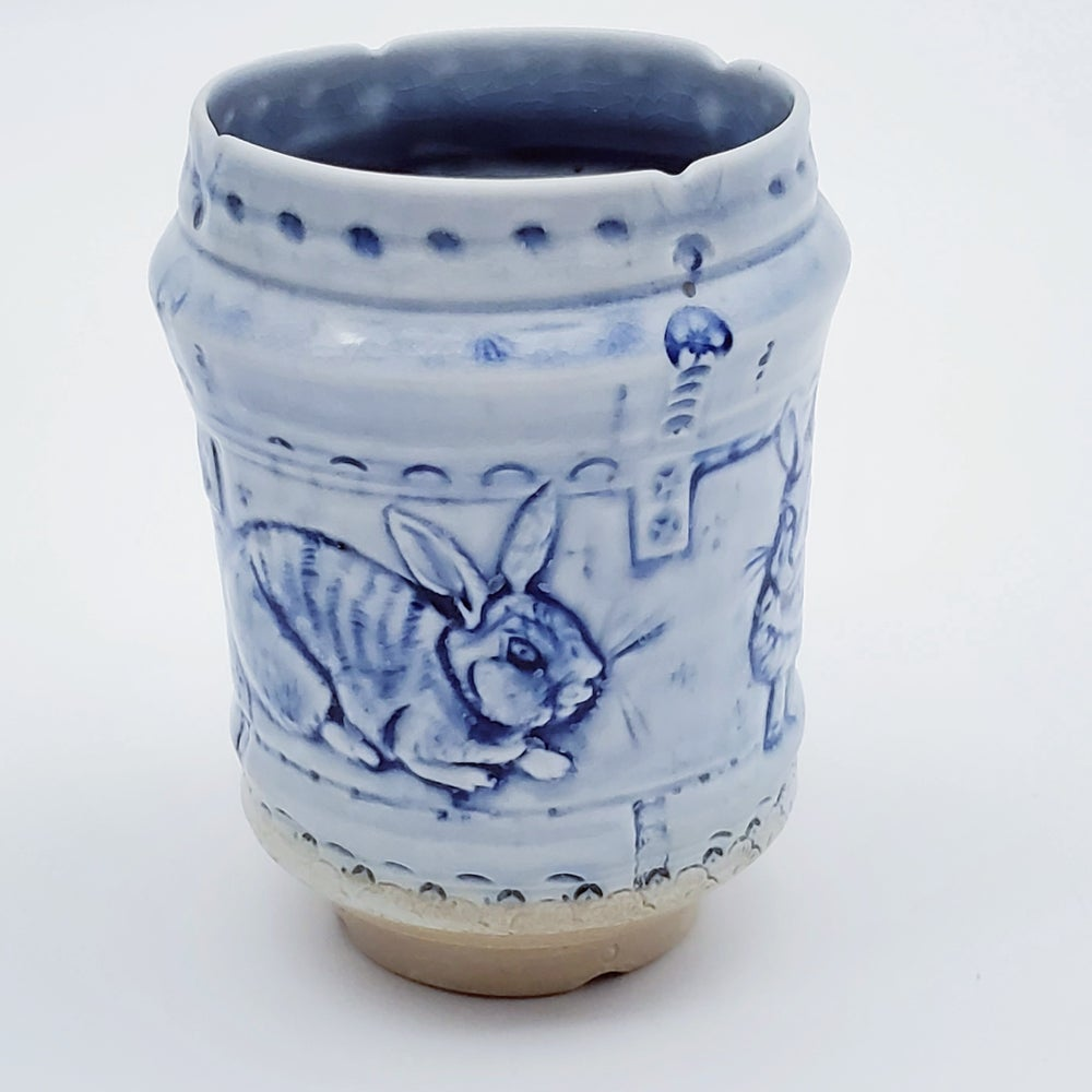 Image of Rabbit Frolic Bas Relief Cobalt Vase